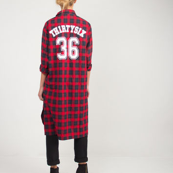 Oversized Double Slit 36 Flannel Shirt - Small