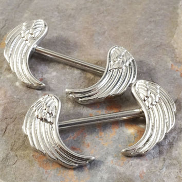 Angel Wing Feathers Nipple Jewelry Barbell 316L 14ga Piercing