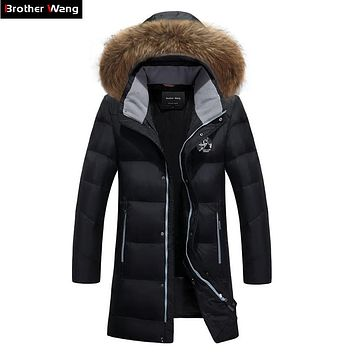 Brother Wang Brand 2019 Winter New Men's Fashion Warm Long Down Jacket Hooded Fur Collar White Duck Down Coat Plus Size 5XL 6XL