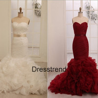 Seetheart Long Mermaid Organza Wedding Dress - Custom Make Wedding Dress / White Bridal Gown / Red Bridal Dress