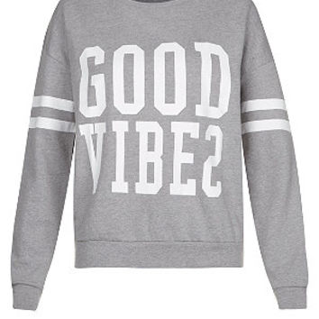 Teens Grey Good Vibes Stripe Sleeve Sweater
