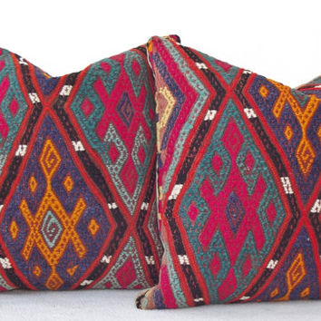 SET Traditional Handembroidery Turkish Kilim Pillow, Pink Green Navy Decorative Kilim Pillow, Cicim Kilim Throw Pillow 15' x 15' INCH