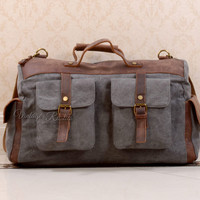 16 Inch Canvas leather duffel Travel bag - Grey