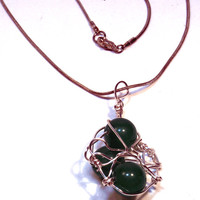 Green Wire Wrapped Orbit Necklace