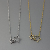 Twinkle Double Stars Pendant Necklace  -  Available color as listed ( Gold, Silver )