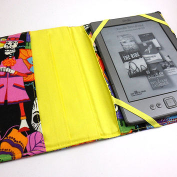 Kindle Cover Day of the Dead iPad Case, eReader Tablet- Sugar Skull- Black Yellow