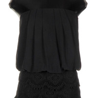 Lace and Chiffon Romper - Black