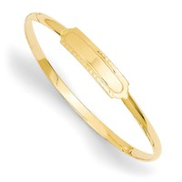 14kt Yellow Gold 5.5 Inch ID Plate Girls Bangle Bracelet