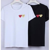 """Comme Des Garçon Play"" Popular Women Men Casual Print Short Sleeve T-Shirt Pullover Top I12097-1"
