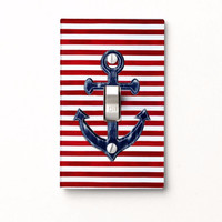 Nautical Light Switch Cover - navy blue anchor on red and white stripes