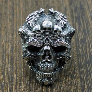 Sterling Silver Skull Ring Adjustable Dragon Ring Punk Rock Many Skeletons Gothic