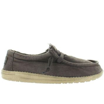 ONETOW Hey Dude Wally Wash - Mud Canvas Athleisure Wallabee