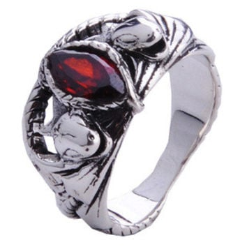 Ruby Inlaid Ring Retro Silver Ring for Men's Gothic Jewelry Fashion-Size 10