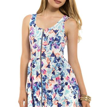 Teeze Me | Sleeveless Floral Fit and Flare Dress | Off-White/Blue