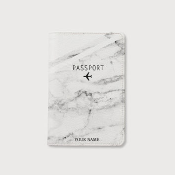 White Marble passport holder personalized passport cover leather  passport holder passport wallet passport case by wanderlustcover shop