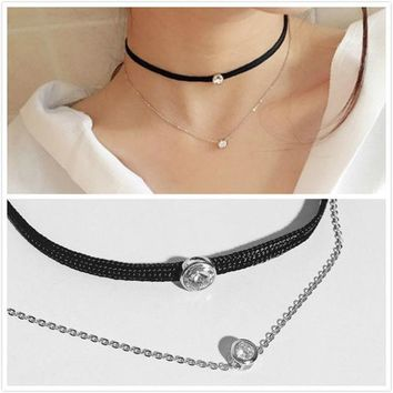 DCCK0OQ Shiny Jewelry Gift New Arrival Stylish Silver Chain 925 Double-layered Simple Design Necklace [10444775124]