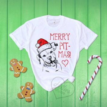 Merry Pitmas Christmas Pitbull Shirt