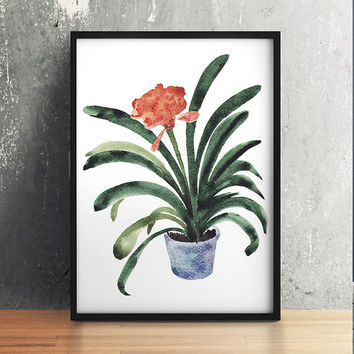 Potted plant print Flower art Botanical poster Watercolor print ACW656