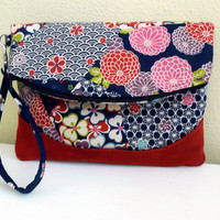Asian Floral Foldover Clutch Wristlet Bag