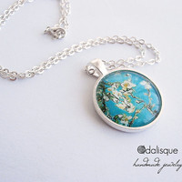 Handmade Magnolia Tree Glass Pendant Silver Vincent Van Gogh Art Round Circle Turquoise Necklace Jewelry Birthday Gift Mother's Day 1 inch