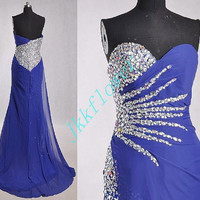 Stunning Dark Royal Blue Crystal Beaded Prom Dresses 2015,Formal Party Grown Evening Dresses,Homecoming Dresses