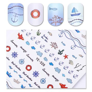 Navy Anchor Nail Water Decal Summer Starfish Rudder Manicure Nail Art Transfer Sticker Decoration
