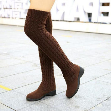 2016 Fashion Knitted Women Knee High Boots Elastic Slim Autumn Winter Warm Long Thigh High Boots Woman Shoes Size 40 WBS539