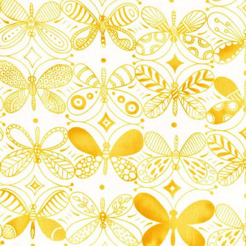 Pattern Dancers Yellow - Flight Patterns By Michael Miller   - Yellow Butterflies- Designer Fabric By the Half Yard