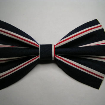 Navy blue and white/red stripes fabric hair bow, Big hair bow, Hair clips, Hair bows for women kids and teens