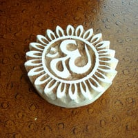 Om Stamp: Hand Carved Wood Printing Block, Flower or Sun Border Indian Stamp, Ceramics or Pottery Stamp, Textile Stamp From India