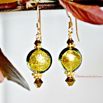 Murano Glass Beads With 24k Gold Encased, Make These Wonderfully Dainty Earrings Perfect For Everyday Wear! - Simply Elegant- Forest