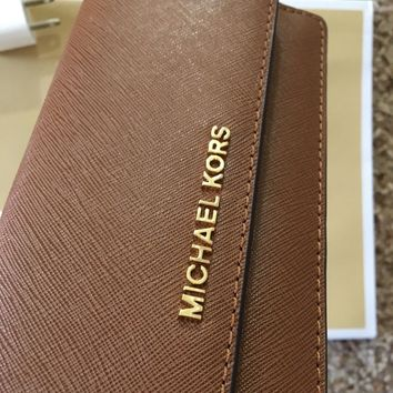NWT Michael Kors Flat Wallet Jet Set Travel LUGGAGE/Gold Saffiano Leather