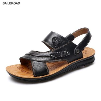 SAILEROAD Size 38-44 Summer Men Sandals For Men Beach Shoes Gentleman Casual Huarache No verao Homens Sandalias Black Shoes
