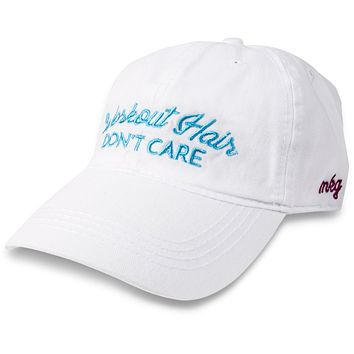 Workout Hair Don't Care - Adjustable Embroidered Baseball Cap - White with Blue Lettering