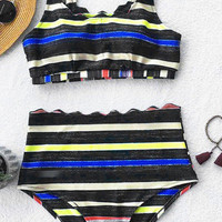Cupshe Catch The Crayon Tank Bikini Set