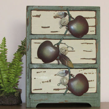 Free Shipping L48 USA Chest of Drawers/Cabinet/Apple Motif/Distressed/Off White/Green/Wood/Kitchen/Primative Decor - Vintage BreezyJunction