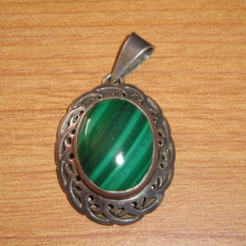 Vintage Malachite Sterling Silver Pendant Ornate Setting