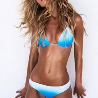 2016 Sexy Woman Triangle Bikini Set Beachwear Contrast color Push Up Swimwear Swimsuit Bathing Suit