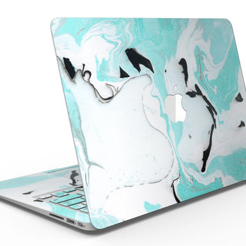 Black and Teal Textured Marble - MacBook Air Skin Kit