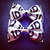 One Direction Black and White Logo handmade fabric hair bow