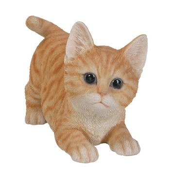 Realistic and Playful Orange Tabby Kitten Collectible Figurine Amazing Detail Glass Eyes Hand Painted Resin Life Size 8 inch Figurine Perfect for Cat Lover Collectible