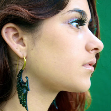 Horn Fake Gauged Earring Brass Hook Curved Horn Earrings, Fake Gauge Horn Curved Earring, Unique Exotic Earring, Tribal Organic Horn Earring