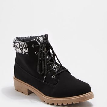 Black Tribal Knit Cuff Hiking Boot | Hiking Boots | rue21