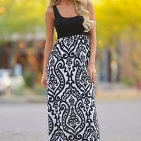 If It's Meant To Be Maxi Dress - Black/White