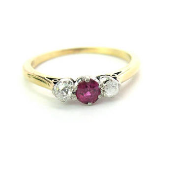 Ruby Diamond Ring. 14K 18K Gold. Alternative Engagement. Trilogy Natural Round Gemstone, Old Mine Cut Diamonds. Vintage Birthstone Jewelry