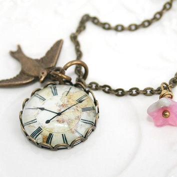 Vintage Clock Necklace Clock pendant necklaceflower by AngelPearls