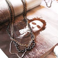 Fashion Four Chain Link Necklace BOHO Multilayer Colorful