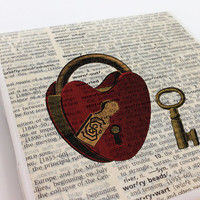 Ceramic Tile Coasters - Key To My Heart Lock - Set of 4 - Upcycled Dictionary Page Book Art - Valentines Day Romantic Love Wedding