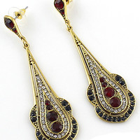 Red Gold Diamond Drop Earrings - Sheinside.com