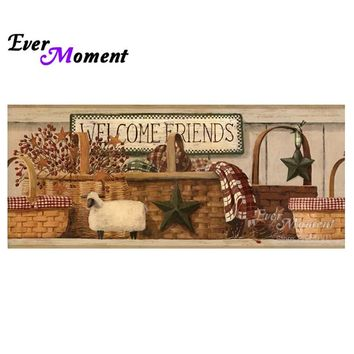 Ever Moment Diamond Painting Cross Stitch Welcome Friends 5D DIY Diamond Embroidery Full Stones Mosaic Kit Wall Decor ASF817